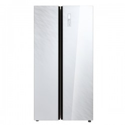 MIDEA White Glass Side-by-side Fridge Freezer 584L