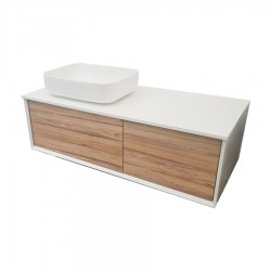 LUX Wall Vanity 1200mm Grasse Oak With Countertop & Vessel Basin