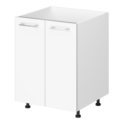 Kitchen Base Cabinet 2 Door 600mm White Melamine Flat Pack