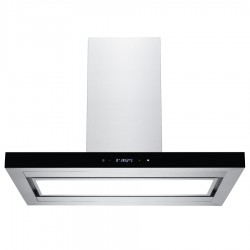 VOGUE Island Canopy Rangehood 900mm Stainless Steel Black Fascia with Touch Panel