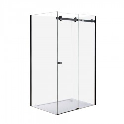 ARCO Frameless Black Rectangle Shower 1200 x 900mm - Right Hand Side - Liner & 40mm Profile tray
