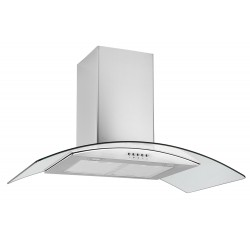 VOGUE Curve Glass Canopy Rangehood 900mm Stainless Steel