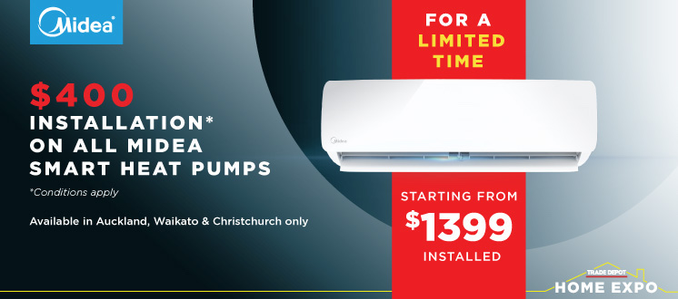 $400 installation on Midea heat pumps offer